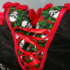 Skull and rose print corset/bustier red and black